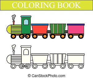 vetorial, coloração, illustration., cartoon., book., trem