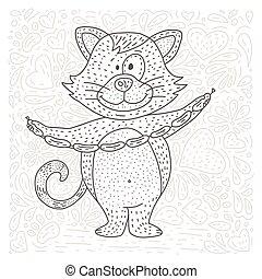 vetorial, coloração, página, cat., feliz