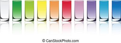 vetorial, colorido, óculos