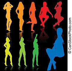 vetorial, colorido, excitado, fêmeas
