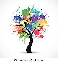 vetorial, coloridos, abstratos, árvore, fundo