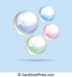 vetorial, coloridos, bolhas sabão