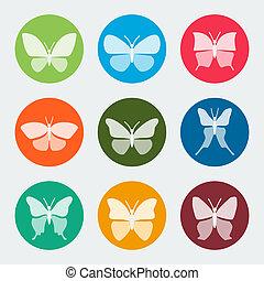 vetorial, coloridos, borboletas, ícones, jogo