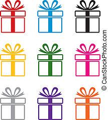 vetorial, coloridos, caixa presente, símbolos