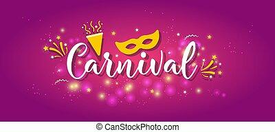 vetorial, coloridos, carnaval, poster., ilustração
