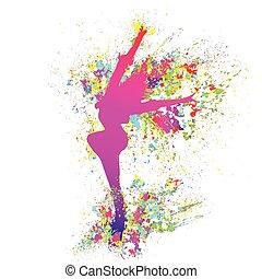 vetorial, coloridos, dançar, dança, respingo tinta, experiência., menina, branca