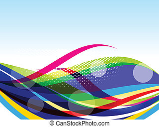 vetorial, coloridos, fundo, onda
