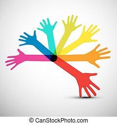 vetorial, coloridos, mãos