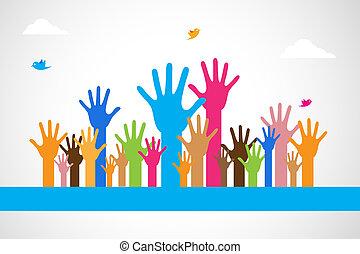 vetorial, coloridos, mãos levantadas