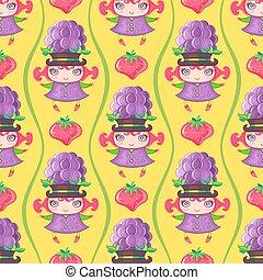 vetorial, coloridos, padrão, seamless, girl., fruta, amora preta, fundo
