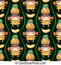 vetorial, coloridos, padrão, seamless, girl., fruta, fundo, abacaxi