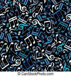 vetorial, coloridos, pontilhado, música, seamless, padrão, com, partituras