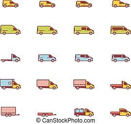 vetorial, comercial, transporte, ícones