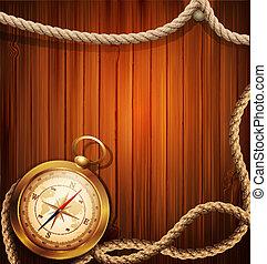 vetorial, compasso, e, marinho, corda