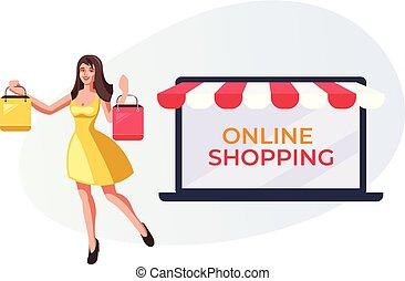 vetorial, compras, mulher, bags., apartamento, concept., online, ilustração, projeto gráfico, segurando, internet fazendo compras, sorrindo, caricatura, feliz
