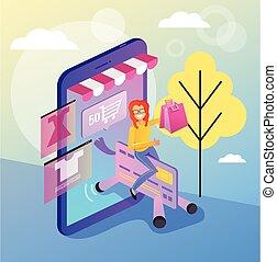 vetorial, compras, smartphone, shopping, card., teia, concept., página, local, apartamento, isolado, crédito, mulher, ilustração, online, comprador, sorrindo, consumidor, caricatura, feliz
