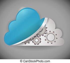 vetorial, computando, illustration., nuvem, desenho