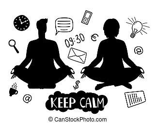 vetorial, conceito, ícones negócio, silhuetas, mantenha, mulher, pacata, meditação, linha, homem