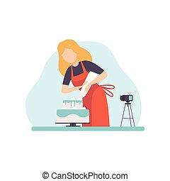 vetorial, conceito, assando, postando, decorando, blogger, social, jovem, mídia, aquilo, gravando, mulher, vídeo, ilustração, online, menina, câmera, bolo, canal