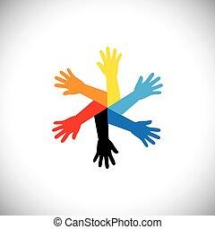 vetorial, conceito, circle., ícone, mãos