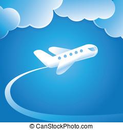 vetorial, conceito, com, voando, avião