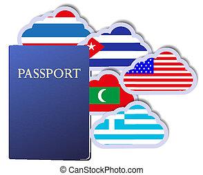 vetorial, conceito, de, a, passaporte, e, países, de, mundo, em, a, forma, de, clouds., eps10
