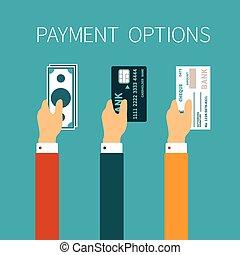 vetorial, conceito, de, pagamento, opções, em, apartamento,...