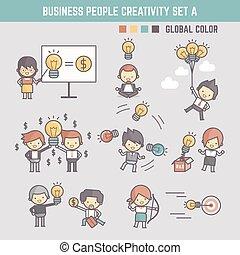 vetorial, conceito, esboço, pessoas negócio, criatividade, personagem, ilustração, infographic