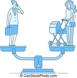 vetorial, conceito, escolher, família, carreira, executiva, trabalho, carrinho criança, equilíbrio, escala, mãe, family., entre, feliz