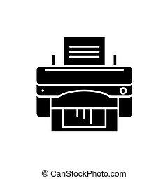 vetorial, conceito, escritório, isolado, ilustração, sinal, experiência., impressora, pretas, ícone, símbolo