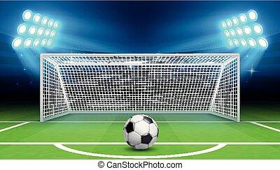vetorial, conceito, esfera football, esportes, penalidade, campeonato, fundo, goals., futebol, pontapé