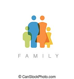 vetorial, conceito, família, ilustração