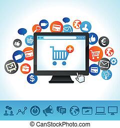 vetorial, conceito, fazendo compras online