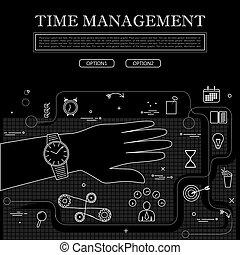 vetorial, conceito, gráfico, desenho, gerência, pretas, tempo, linha branca