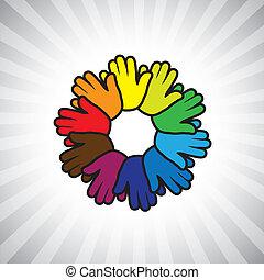 vetorial, conceito, graphic-, abstratos, ring(circle), mão, symbols(ic