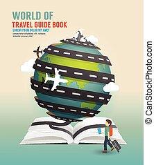 vetorial, conceito, illustration., viagem, livro, desenho, ...