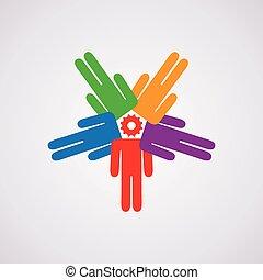 vetorial, conceito, liderança, ícone