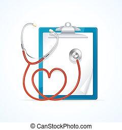 vetorial, conceito médico, estetoscópio, clipboard.