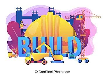 vetorial, conceito, modernos, ilustração, maquinaria construção
