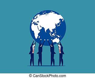 vetorial, conceito, negócio, illustration., global, business.