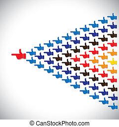 vetorial, conceito, pessoas, -, junto, liderança, seta, mãos