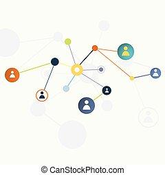 vetorial, conceito, rede, social