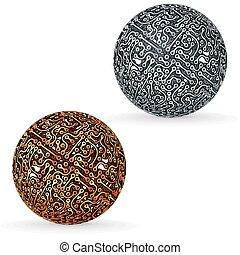 vetorial, conceito, sphere., tábua, circuito