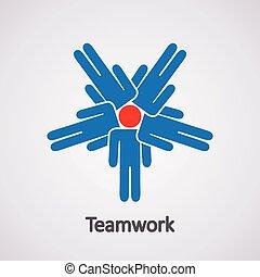 vetorial, conceito, trabalho equipe, ícone