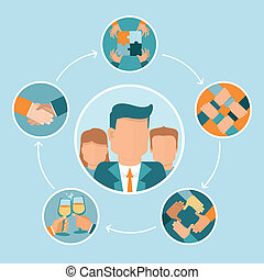 vetorial, conceito, trabalho equipe, cooperação