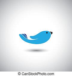 vetorial, conceito, voando, -, livre, mão, gráfico, human, pássaro, ícone