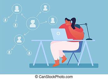 vetorial, concept., estrutura, responsabilidades, mulher, workflow, esquema, delegar, delegação, apartamento, ilustração, caricatura, tarefas, autoridade, negócio, gerência, trabalhando, laptop, produtivo, seta