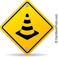 vetorial, cone segurança, sinal estrada