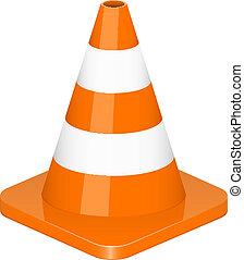 vetorial, cone tráfego, ilustração
