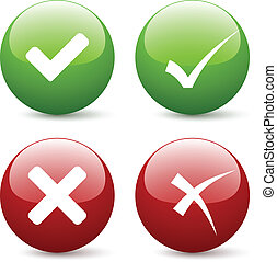 vetorial, confira mark, botões